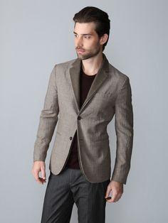 John Varvatos wool double lapel blazer.