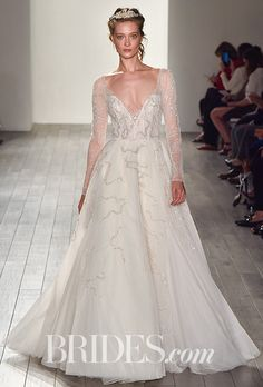 """Brides: Hayley Paige - Fall 2017. """"Bacall,"""" silk velvet wedding dress with illusion back and blooming embroidery by Hayley Paige"""