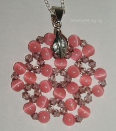 Beadwork pink pendant necklacehandmade by ip by ipjewelss on Etsy, $12.00