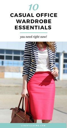 bright pink pencil skirt, cream lace top & navy blue striped blazer - a summer outfit Modest Outfits, Skirt Outfits, Classy Outfits, Cute Outfits, Work Fashion, Modest Fashion, Skirt Fashion, 70s Fashion, Paris Fashion