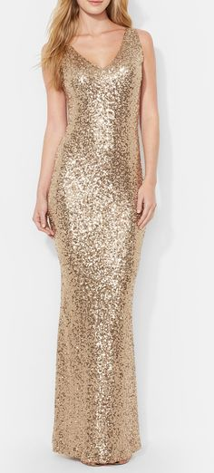 Super glam gold sequin gown. NYE!