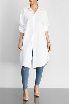 Solid Color Shirt Dress - From dream wedding dresses and party dresses to perfect prom dresses and evening dresses, you& sure to find a fabulous style to match every occasion. Source by - Mode Outfits, Casual Outfits, Casual Shirt, Long White Shirt Outfit, Long Shirt Outfits, Tunic Shirt, Shirt Dress, Cute Clothes For Women, White Tunic