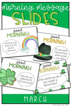 Start your morning off right with these calming, watercolor March & St. Patrick's Day morning meeting slides! They are perfect for in class learning, distance learning and Google Classroom. Improve classroom community and oral language skills in a quick gathering at the start of your day with a conversation starter. This march package includes monthly discussion questions for spring, St. Patrick's Day and just general discussions with llama pictures.