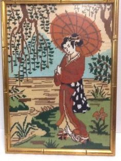 Completed Needlepoint Japanese Woman Geisha Kimono Umbrella 14 x19