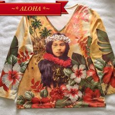 """ALOHA SPIRIT Vintage Hawaiian Look Beaded Top Soft Nylon material with a vintage photo look. 3/4 length sleeves. This top measures 19"""" armpit to armpit.. But has lots of stretch. Gently preloved condition. Hawaii what a beautiful place... Studio G Tops"""