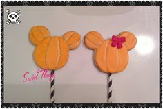 Minnie and Mickey pumpkin cookie pops  sweetthingsbywendy.ca Cookie Pops, Pumpkin Cookies, Sticks, Treats, Sweet, Sweet Like Candy, Candy, Goodies, Sweets