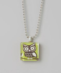 This Green Owl Tile Pendant Necklace is perfect! #zulilyfinds