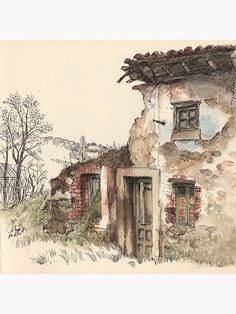 Life skit in Guardo, Palencia. Watercolor and ink Watercolor Painting Techniques, Pen And Watercolor, Sketch Painting, Watercolor Landscape, Watercolour Painting, Watercolours, Watercolor Architecture, Architecture Art, Art Sketches