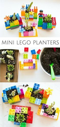 Mini DIY LEGO Planters: Fun Planting and Gardening Project for Kids. Let the kids practice their building and engineering skills to make these cute planters! #diygardenprojectsforkids