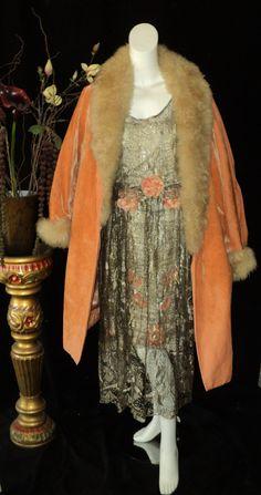1920s Dress Silver Metallic Lace Ribbonwork Roses by Bellasoiree, $1650.00
