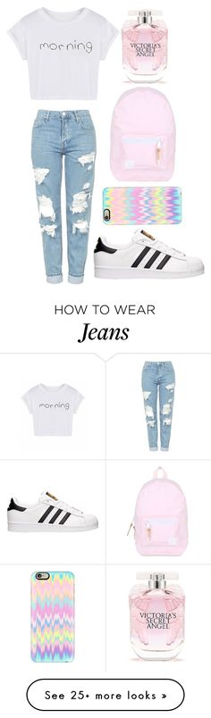 """""""whiteshirt+jeans+adidasshoes+phonecase+bag+perfume=beutimo"""" by watermelon-cdxii on Polyvore featuring Topshop, adidas, Herschel, Casetify, Victoria's Secret and morning"""