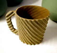 Love this handmade ceramic mug inspired by corrugated card of all things! Brilliant. By Tom Gloster