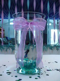 Mermaid decor, fish in vase as centerpiece