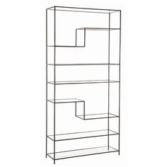 Clear GlassDimensions: Adj H: shlf 9 1/4-19 1/2''H: shelf''H: 82 1/2'' • W: 40'' • D: 13''Material: Iron, Glass  #musthavethis
