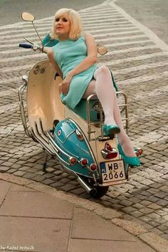 girl on Vespa scooter