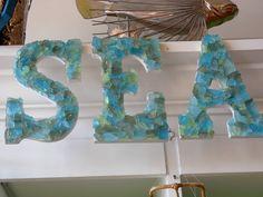 sea glass, SEA word,Beach,Coastal decor,