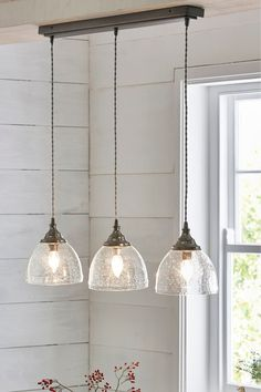 Buy Bergen 3 Light Linear Bar from the Next UK online shop Kitchen Ceiling Lights, Kitchen Island Lighting, Kitchen Lighting Fixtures, Kitchen Pendant Lighting, Glass Pendant Light, Hanging Lights For Kitchen, Chandelier Kitchen Island, Pendant Lighting Over Dining Table, Kitchen Light Fittings
