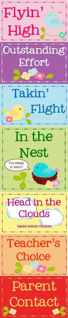 Classroom Freebies Too: Whimsical Birdies Clip Chart & Tracker Freebie  I just might have to use this!  So CUTE!