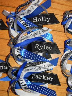 2 Custom Personalized Ponytail Streamers /  cheer bow, ANY colors, with or without sports ribbon. $20.00, via Etsy.