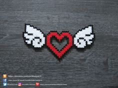Coeur Ailé Perles Hama / Heart With Wings Perler Beads