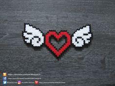 Winged Heart Hama Beads / Heart With Wings Perler Beads - Basteln Easy Perler Bead Patterns, Melty Bead Patterns, Perler Bead Templates, Diy Perler Beads, Perler Bead Art, Beading Patterns, Loom Patterns, Hama Beads Kawaii, Loom Beading