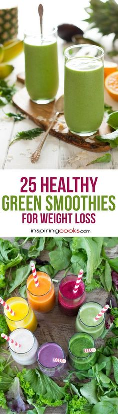 """How to make healthy smoothies at home to lose weight 25 Healthy Green Smoothie Recipes for Weight Loss """"I tried to pick the healthiest, easiest and most tasty healthy green smoothie recipes for weig Smoothie Fruit, Healthy Green Smoothies, Protein Smoothies, Healthy Drinks, Lunch Smoothie, Detox Drinks, Yogurt Smoothies, Breakfast Smoothies, Smoothie Diet"""
