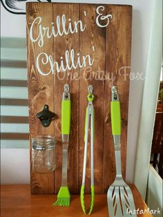 Grillin and Chillin Organization/Tool Storage/Bottle Opener by OneArtsyFox on Etsy https://www.etsy.com/listing/233037392/grillin-and-chillin-organizationtool