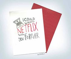 Excited to share the latest addition to my #etsy shop: I could watch Netflix forever with you watercolor Valentine's Day card, Love V-day http://etsy.me/2CTQ33r #papergoods #white #anniversary #red #watercolor #handmadecard #valentinesday #valentines