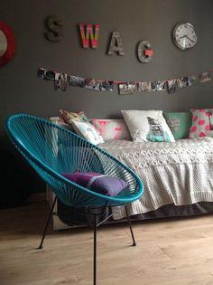 chambre pour fille murs gris