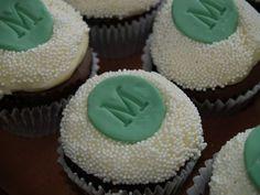 monogram cupcakes how cute