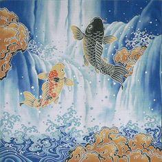 Furoshiki Good Luck Wrapping Koi Waterfall Japan Made Koinobori Japanese Koi, Japanese Fabric, Japanese Culture, Japanese Sleeve, Japanese Textiles, Koi Fish Tattoo, Asian Tattoos, Koi Carp, China Art