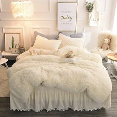 Beige Simple Style Quilting Bed Skirt Fluffy Bedding Sets/Duvet Cover - Bed and Bedcover Faux Fur Bedding, Fluffy Bedding, Beige Bedding, Glam Bedding, Cute Bedding, Modern Bedding, Bedroom Inspo, Bedroom Decor, Bedding Decor