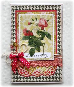Card made with NEW Websters Pages Modern Romance Collection! By: Gabriellep. Martha Stewart Crafts, Punch Swirling Lace