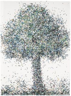 Pavlos (Dionyssopoulos) B. 1930 TREE signed and dated Pavlos 84 (lower right) plexiglass, paper collage and oil on board  76 by 56cm., 30 by 22in.
