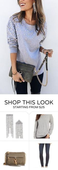 #fall #outfits women's gray long-sleeved top and gray leather crossbody bag. Click To Shop This Look.