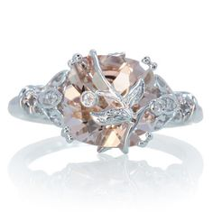 14K White Gold Cushion Cut Morganite Leaf and Vine Design Unique Custom Handmade One of A Kind Engagement Wedding Anniversary Bridal Ring