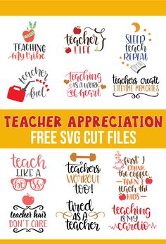 Free Teacher Appreciation SVG Cut filesFree teacher recognition SVG cut files for Cricut and Silhouette in SVG, PNG, EPS and DXF formats. These files are absolutely free for personal use. These SVG files are compatible Teacher Appreciation Week, Teacher Gifts, Teacher Sayings, Teacher Party, Employee Appreciation, Teachers' Day, Cricut Creations, Svg Cuts, Silhouette Studio