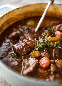 Irish Beef and Guinness Stew - The king of all stews! Fork tender beef in a rich thick sauce. Easy to make, just requires patience! Slow cooker, stove, oven and pressure cooker directions provided. www.recipetineats.com