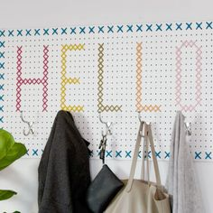 DIY Cross-stitch Pegboard Coat Rack