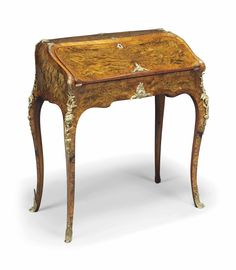 A VICTORIAN ORMOLU-MOUNTED BURR WALNUT, KINGWOOD-BANDED, BURR AND FIGURED MAPLE BUREAU DE DAME -  OF LOUIS XV STYLE, LATE 19TH CENTURY