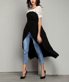 Look at this #zulilyfind! Black Chiffon Lace-Panel Hi-Low Tunic #zulilyfinds