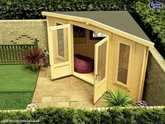 Shed Plans - Is your too small for a Log Cabin? Think again! The new Triangle 300 Log Cabin is designed for small spaces and corners.: - Now You Can Build ANY Shed In A Weekend Even If You've Zero Woodworking Experience! Backyard Sheds, Small Backyard Landscaping, Landscaping Ideas, Backyard Studio, Garden Sheds, Nice Backyard, Backyard Office, Small Backyard Design, Backyard House