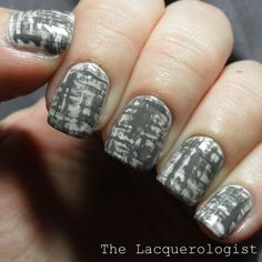 The Lacquerologist: The Digit-al Dozen Does Monochrome #4: Gray Tweed Nails!