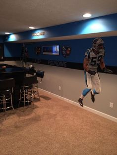 Pin By Nila Wilkerson On Gibsonu0027s Carolina Panthers Bedroom | Pinterest |  Bedrooms, Room And Men Cave