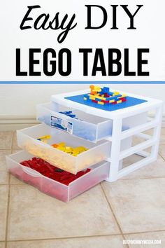 Do your kids love building with Lego bricks? It's one of my kids' favorite things to do. I was tired of finding Lego bricks all over the floor so we put together this easy DIY Lego Table that is perfect for individual play. It even has Lego storage build right