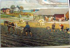 Opetustaulu, syystyöt - Board of Education, September jobs - Finnish horses Scandinavian Countries, Antique Prints, Native American Art, Aste, Ancient History, Country Life, Finland, Teaching Tables, Illustrators