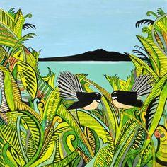 Summer Fantails by Esther Dexter - Art Prints New Zealand Wall Art For Sale, Dexter, New Zealand, Autumn, Art Prints, Artist, Summer, Painting, Collection