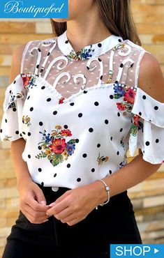 Cold Shoulder Mesh Insert Print Blouse Shop- Women's Best Online Shopping - Offering Huge Discounts on Dresses, Lingerie , Jumpsuits , Swimwear, Tops and More. Trend Fashion, Look Fashion, Womens Fashion, Fashion Brands, Leder Outfits, Casual Blazer, Printed Blouse, Casual Tops, Pattern Fashion