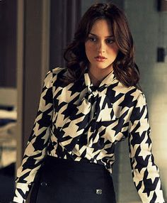 Blair Waldorf's style; love the hounds- tooth  blouse