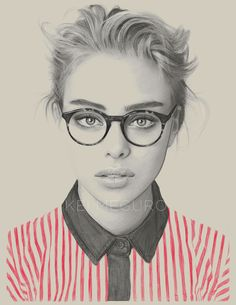 """Another incredible pencil drawing. The red shirt really pops almost taking away from the beautifully rendered face. Anyone else love women with glasses? """"Wheres Wendy?"""" by Kei Meguro."""